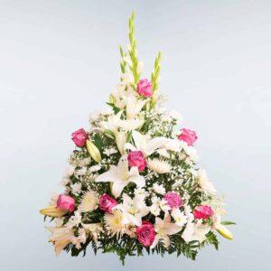 Envío de Centro de flores Carina a cualquier tanatorio de Madrid y Toledo