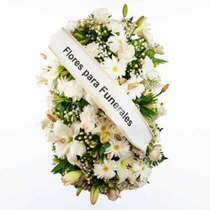 Palma de flores blanca para funerales morada, verde y rosa para enviar a tanatorios de madrid y toledo.