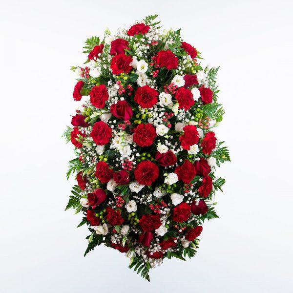 Palma de flores roja y blanca funerales morada, verde y rosa para enviar a tanatorios de madrid y toledo