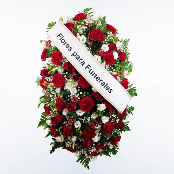 Palma de flores roja y blanca funerales morada, verde y rosa para enviar a tanatorios de madrid y toledo.